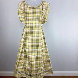 Vintage plaid pinafore apron